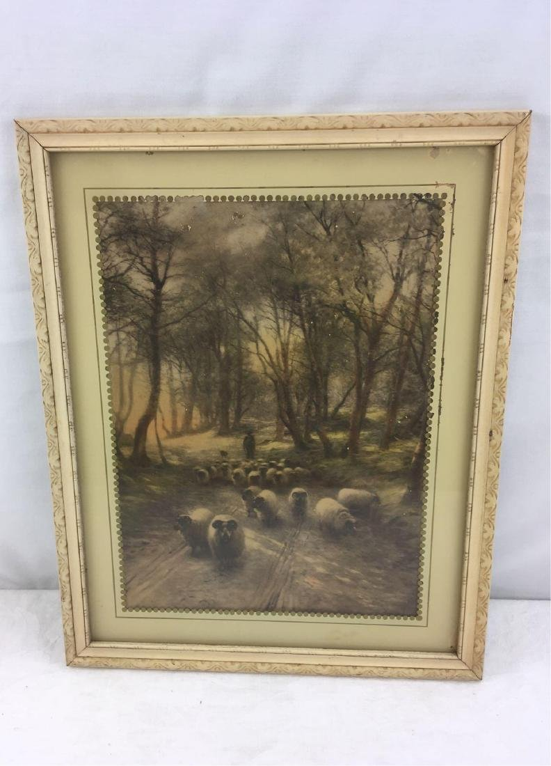 Vintage Framed Drawing, A Farmer and His Sheep in the