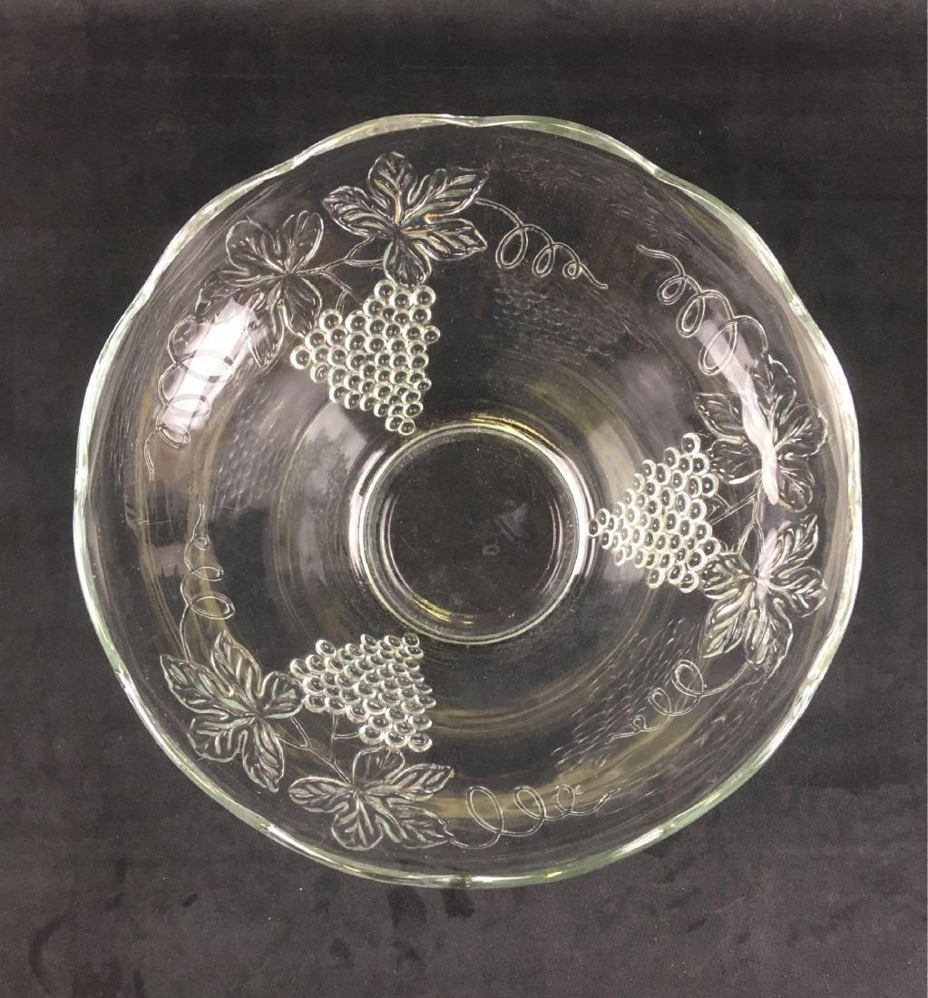 Vintage Glass Grape Punch Bowl - 2