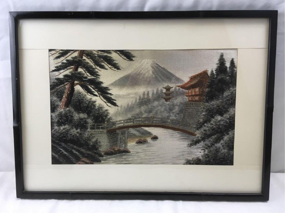 Vintage Japanese Silk Embroidery Tapestry