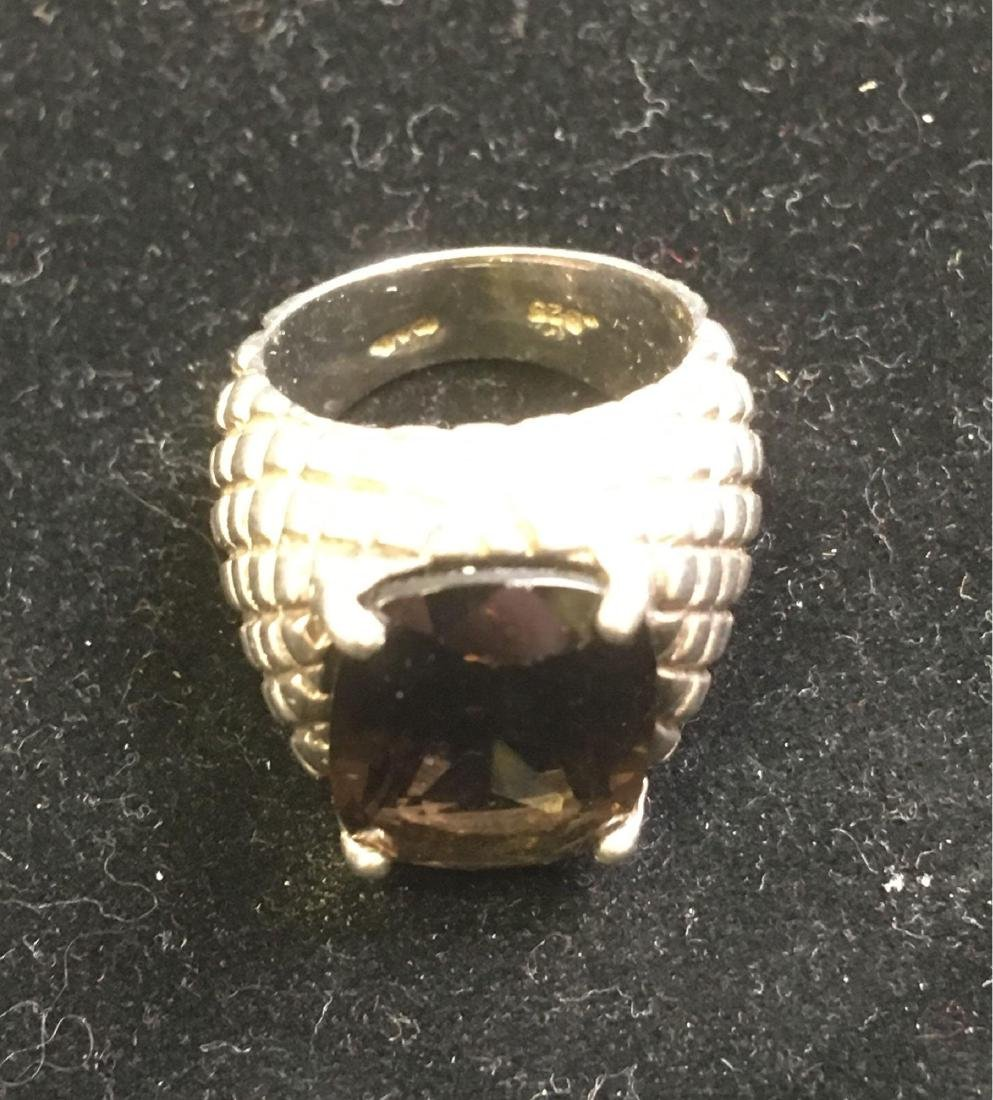 Vintage Artisan Sterling Silver and Smokey Quartz Ring - 3