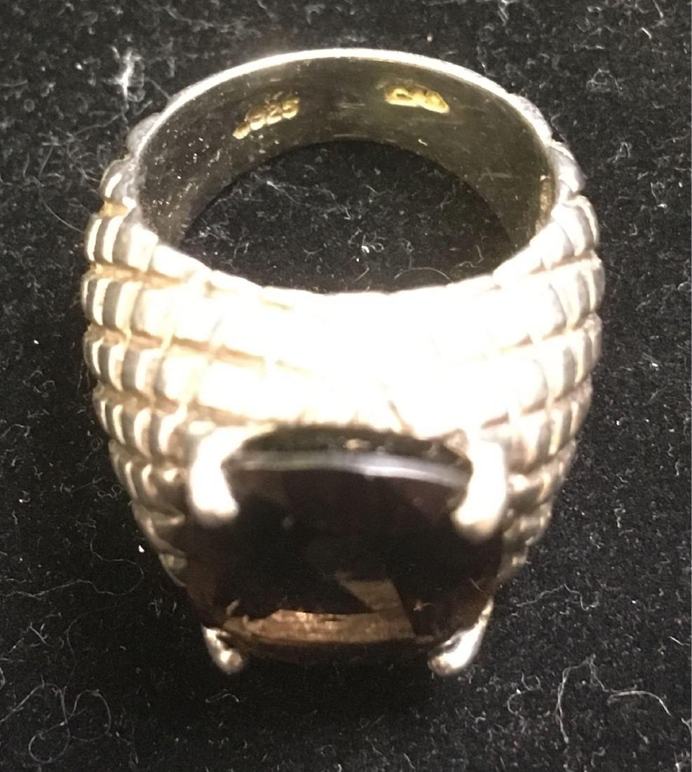 Vintage Artisan Sterling Silver and Smokey Quartz Ring - 4