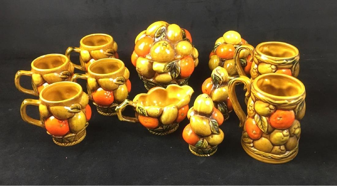 Vintage Orange Spice By Inarco Fruit Basket Coffee Set