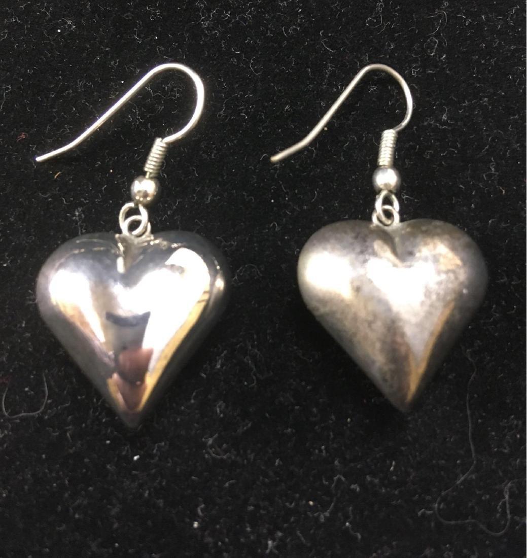 Vintage Silver Toned Heart Dangle Earrings