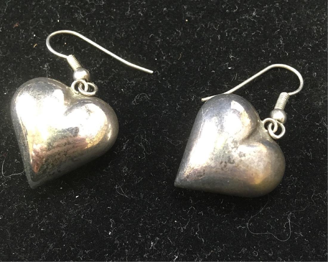Vintage Silver Toned Heart Dangle Earrings - 2