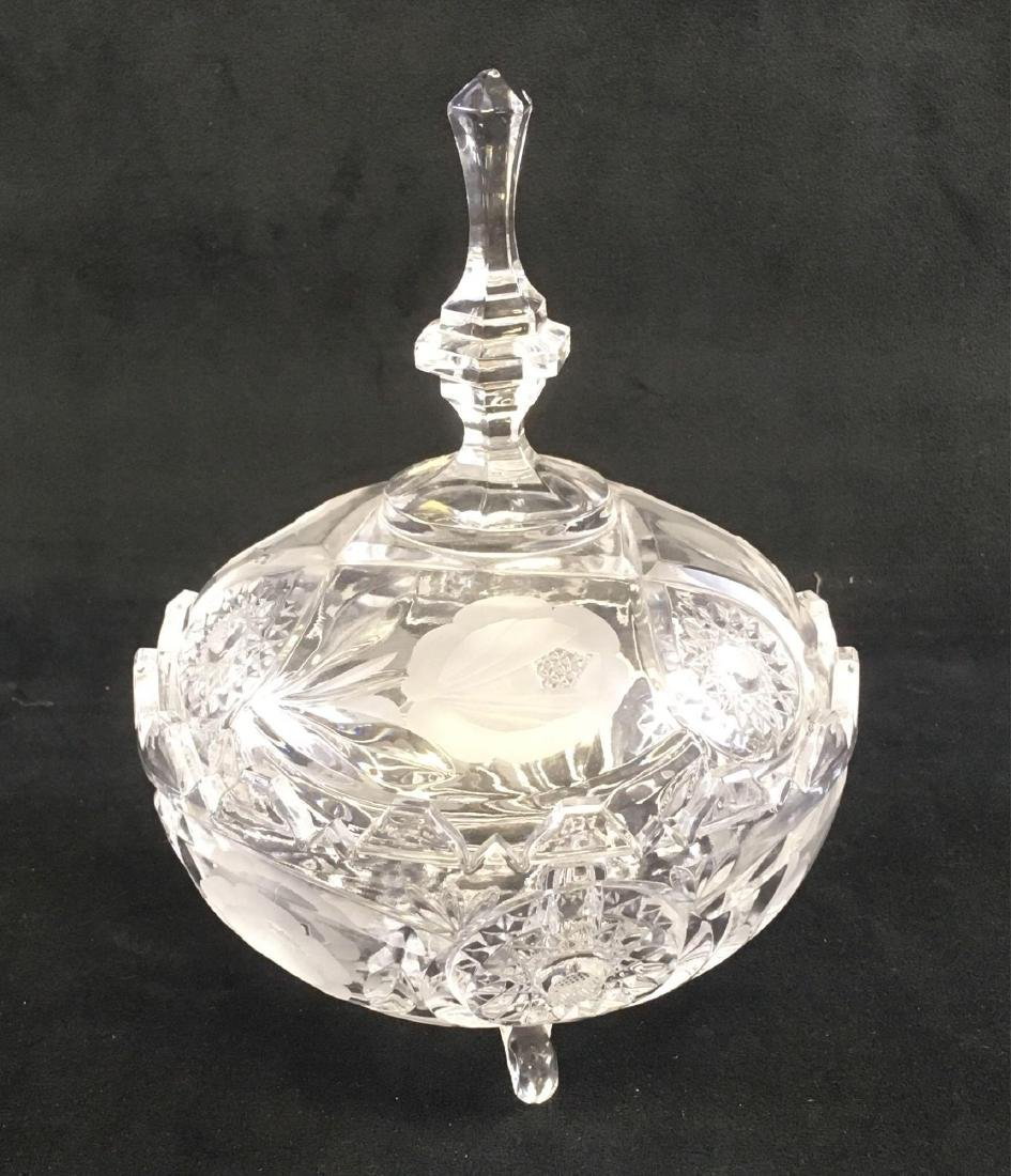 Footed Crystal Glass Candy Dish Cut and Etched with