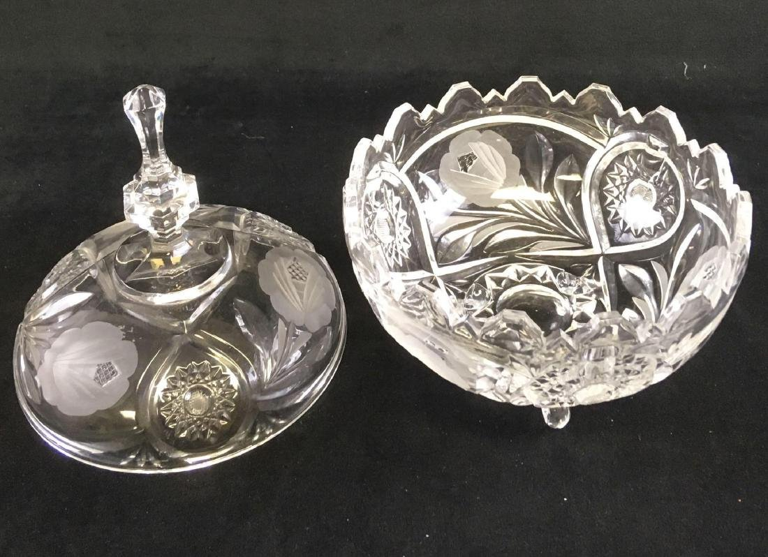 Footed Crystal Glass Candy Dish Cut and Etched with - 2