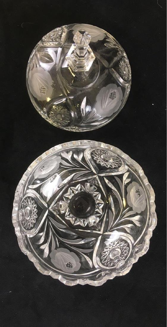 Footed Crystal Glass Candy Dish Cut and Etched with - 3
