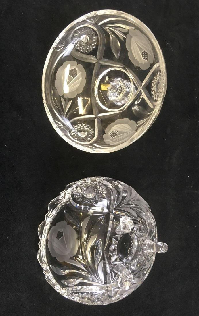 Footed Crystal Glass Candy Dish Cut and Etched with - 4