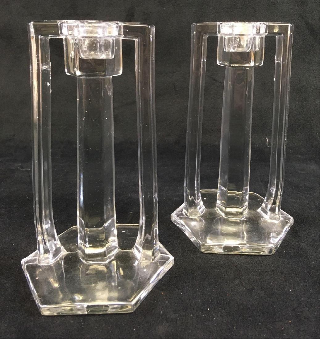 Pair of Vintage Art Deco Glass Candle Sticks