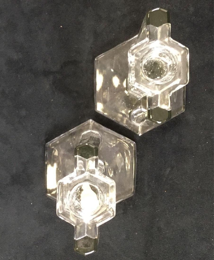 Pair of Vintage Art Deco Glass Candle Sticks - 3