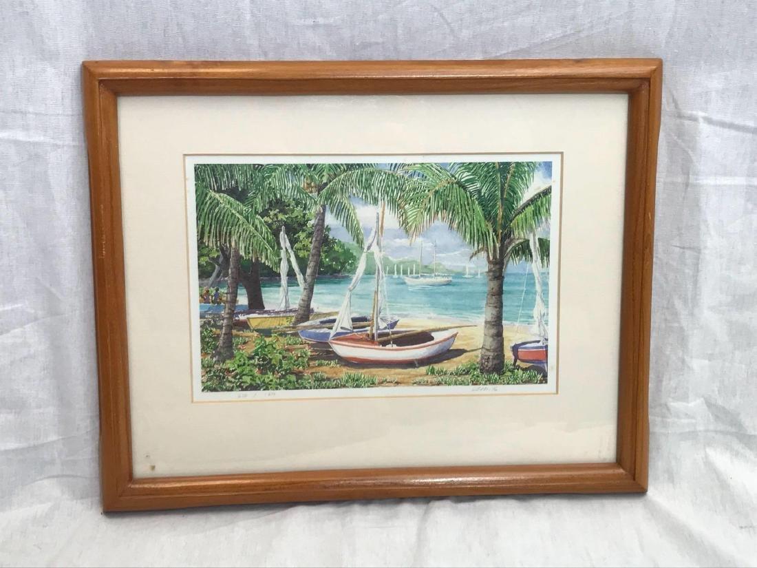 Print of Original Watercolor, Beach Scene, Signed