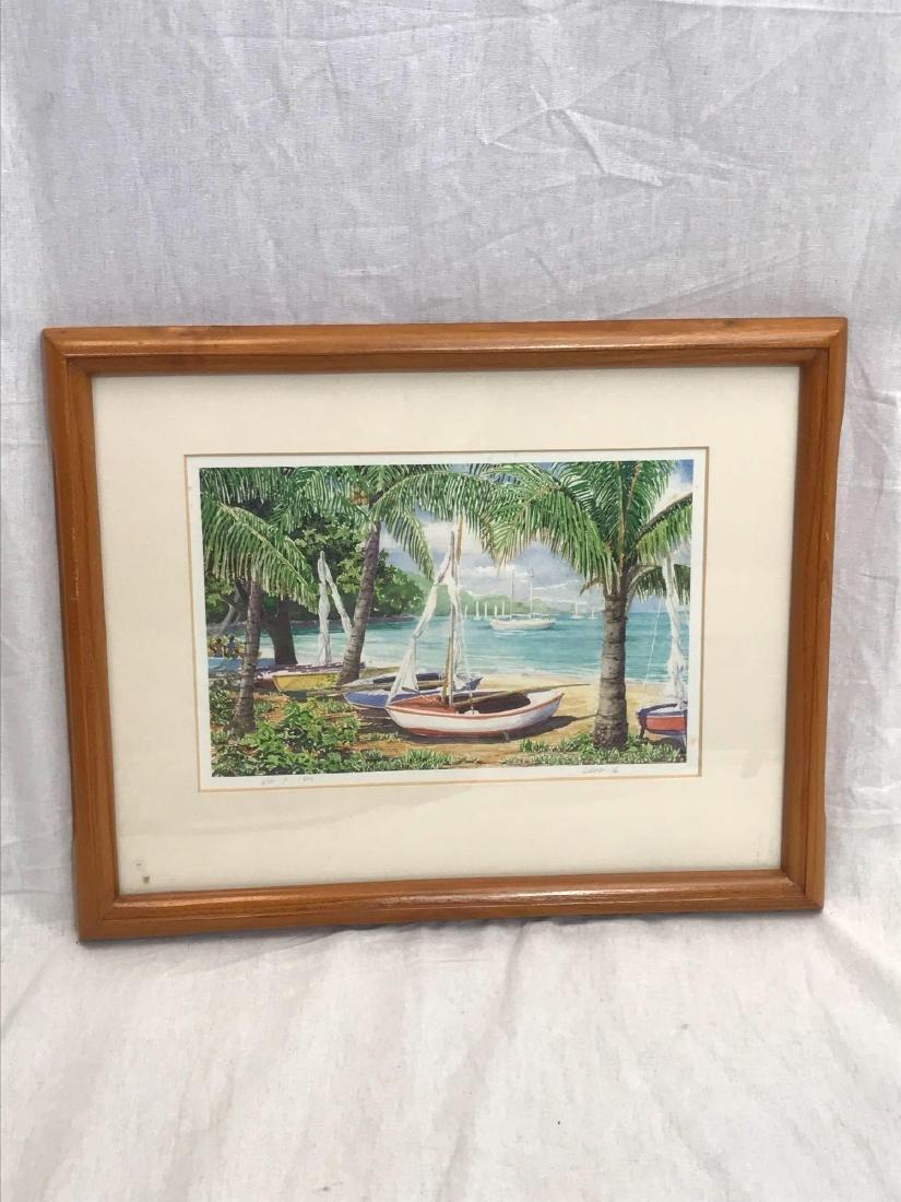Print of Original Watercolor, Beach Scene, Signed - 2