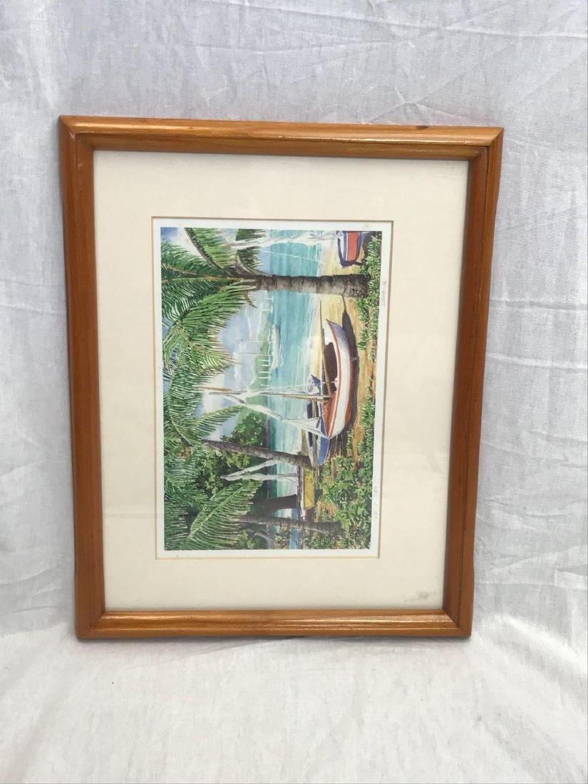 Print of Original Watercolor, Beach Scene, Signed - 8