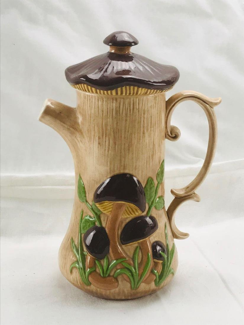 Vintage Art Pottery Pitcher with Lid, Signed - 3