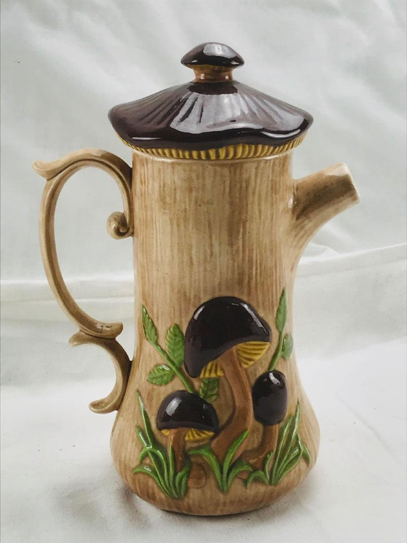 Vintage Art Pottery Pitcher with Lid, Signed - 8