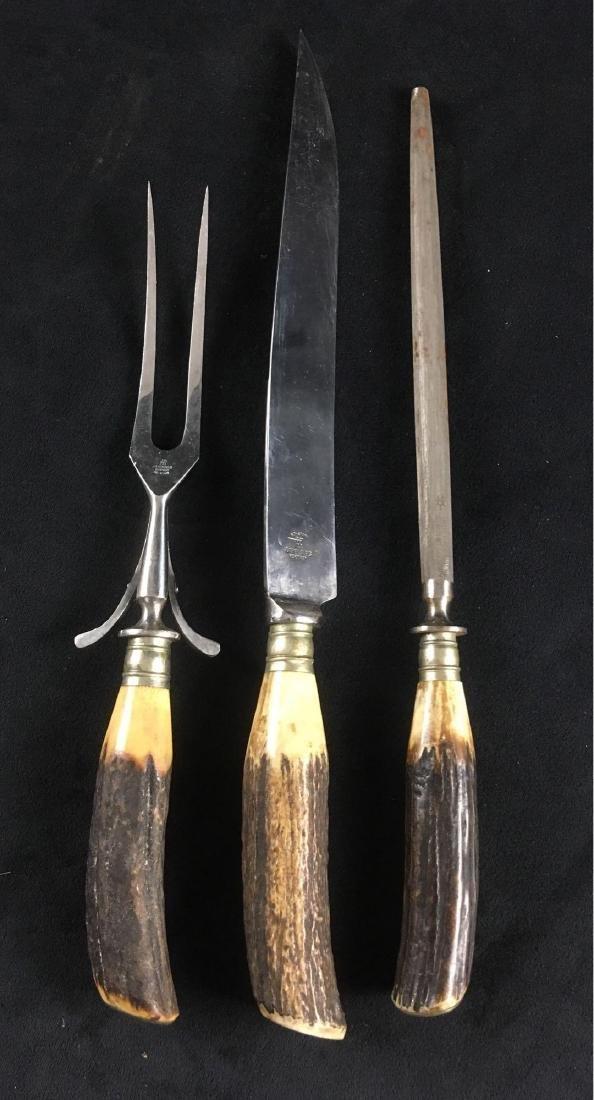 Vintage German JA Henckels Antler Carving Set