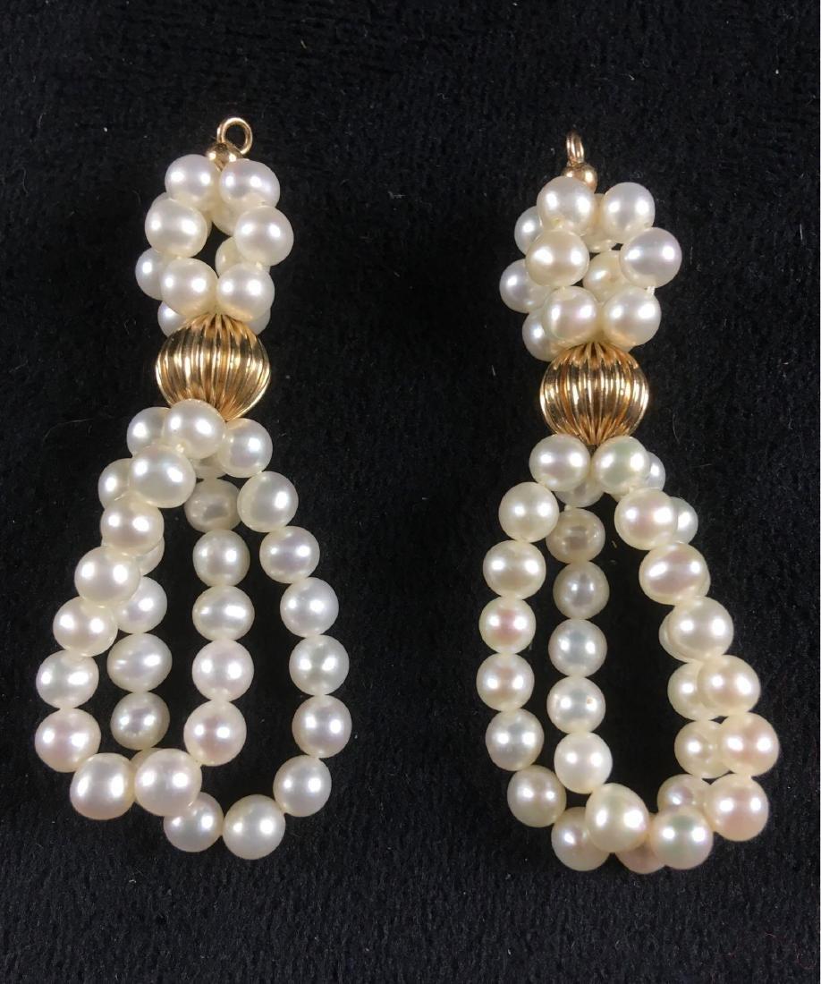 Vintage Pair Of Pearl Dangle Earrings