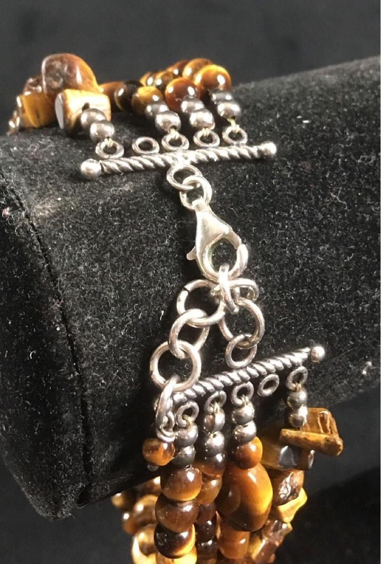 Vintage Multi Strand Tigers Eye Bracelet - 4