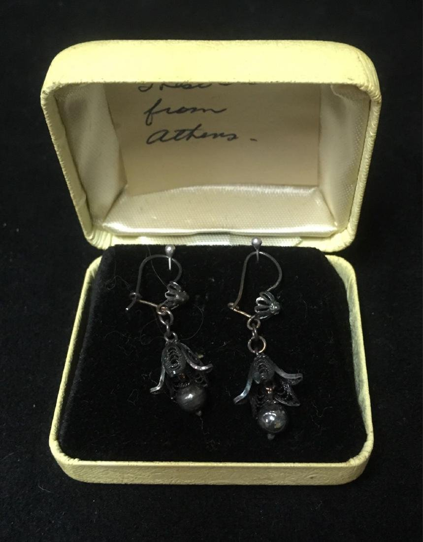 Vintage Sterling Silver Trumpet Flower Dangle Earrings