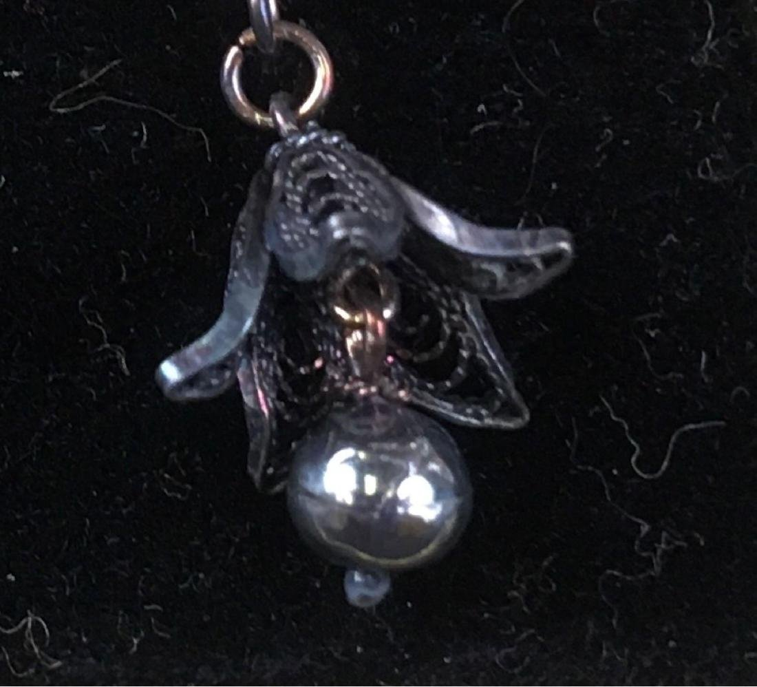 Vintage Sterling Silver Trumpet Flower Dangle Earrings - 3
