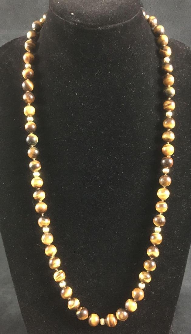 Vintage 14k Gold Tigers Eye Beaded Necklace