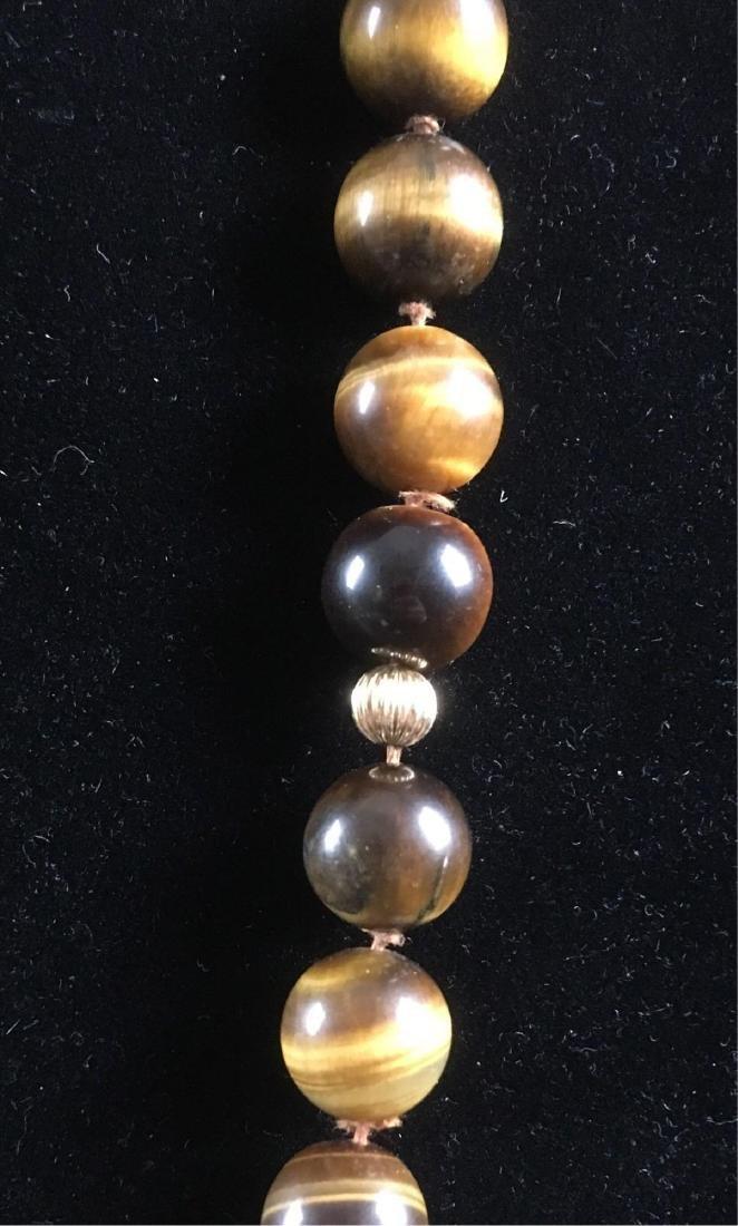 Vintage 14k Gold Tigers Eye Beaded Necklace - 2