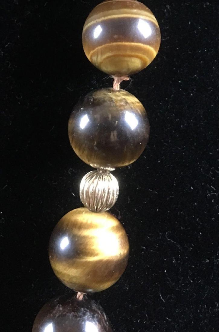 Vintage 14k Gold Tigers Eye Beaded Necklace - 3