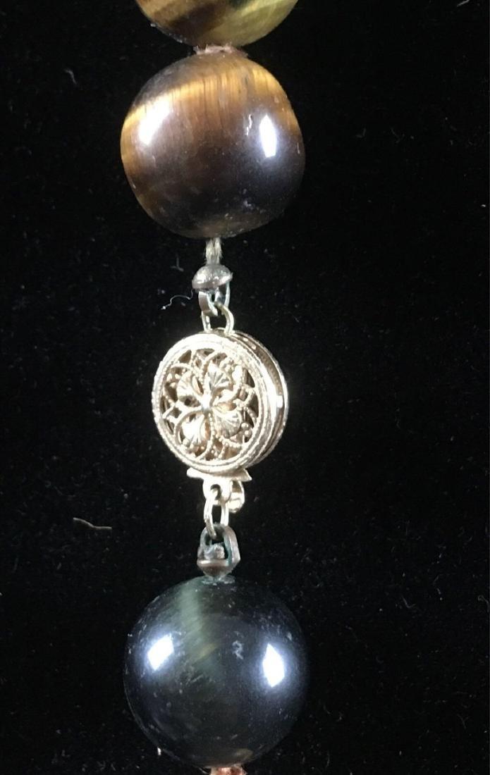 Vintage 14k Gold Tigers Eye Beaded Necklace - 4