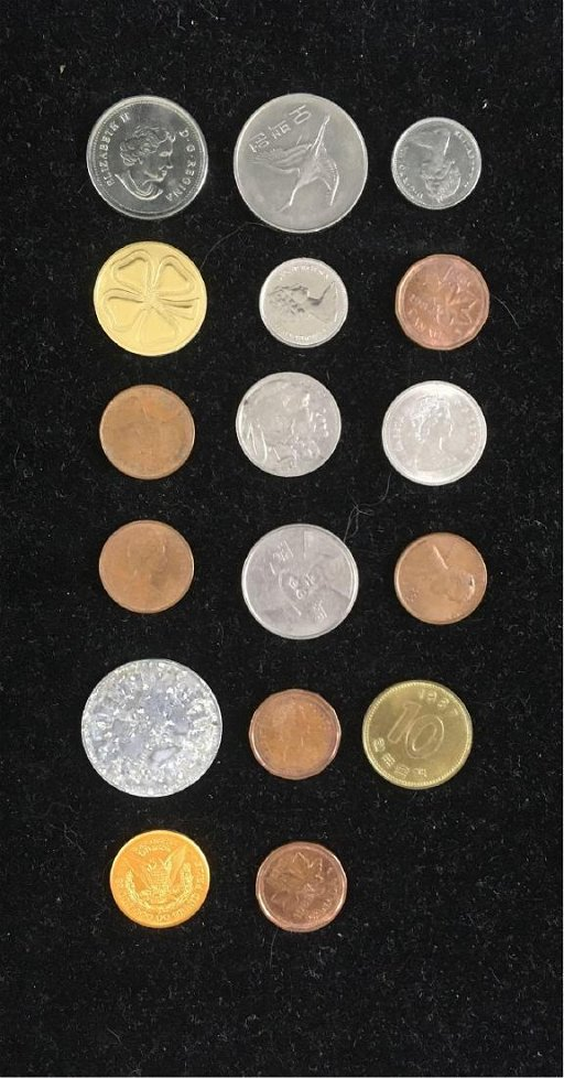 Lot of Vintage Coins and Tokens, 17 Pieces