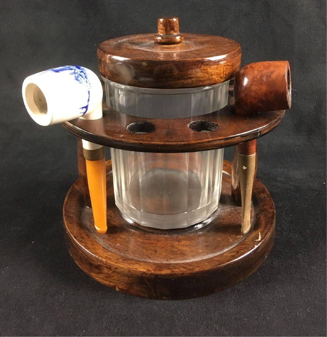 Vintage Walnut Pipe Stand and Humidor