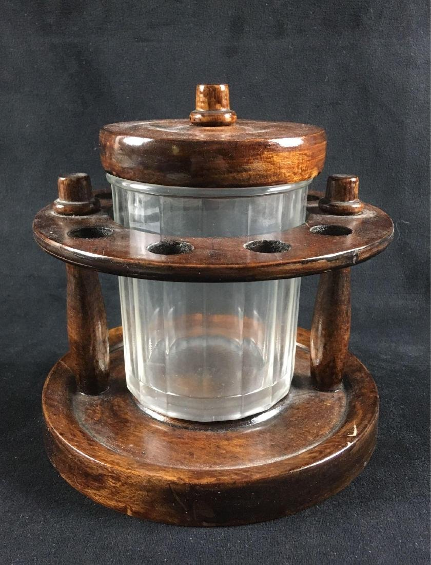 Vintage Walnut Pipe Stand and Humidor - 2