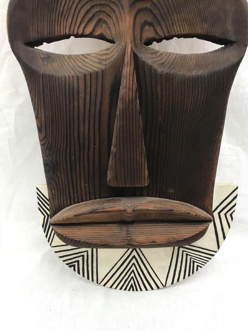 Vintage Carved Tribal Mask, Mounted - 6