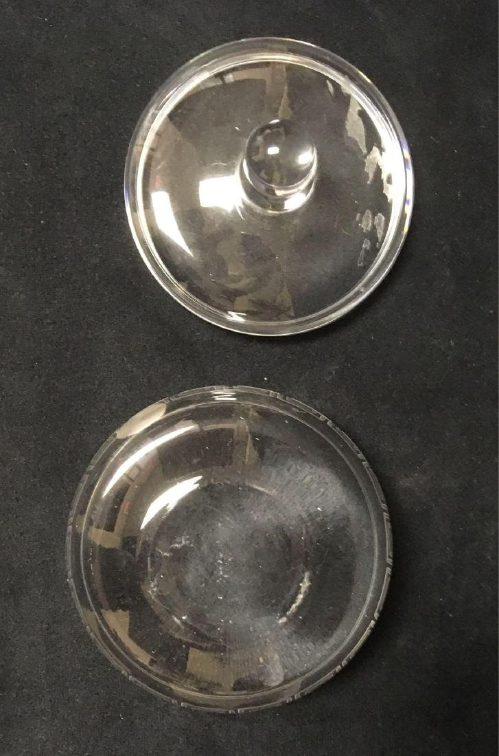 Hand Blown Cut Glass Lidded Candy Dish Trinket Dish - 5
