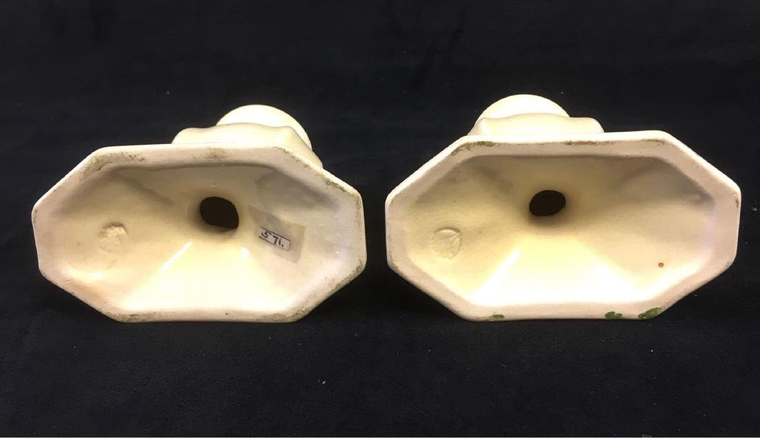 Vintage Cowan Art Pottery Pair of Candle Holders Marked - 4