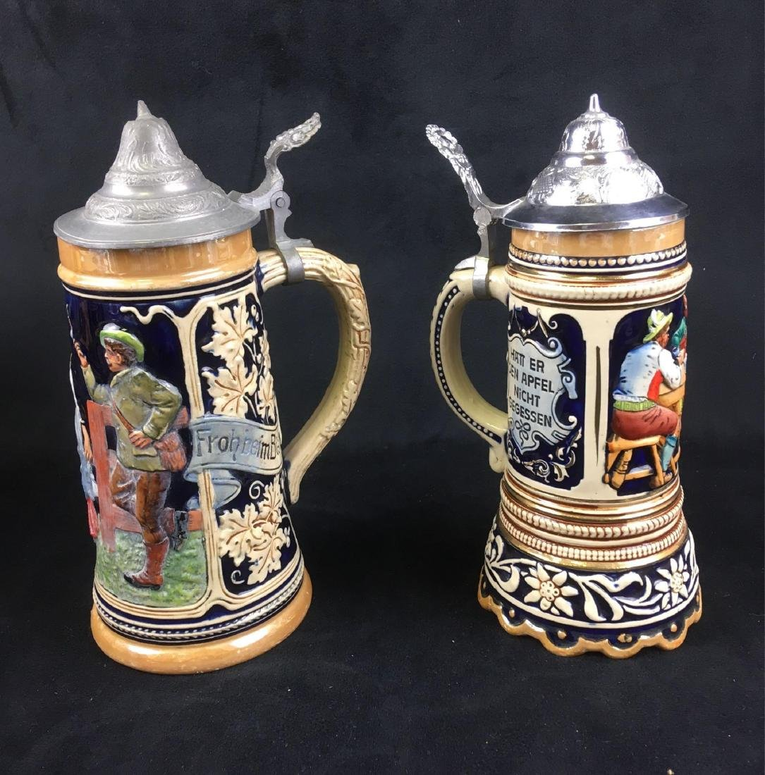 Two Vintage German Beer Steins with Pewter Lids - 2