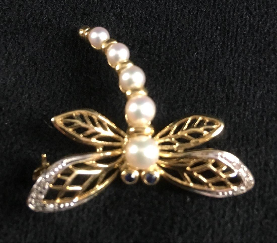Vintage Pearl 14K Gold Dragonfly Brooch
