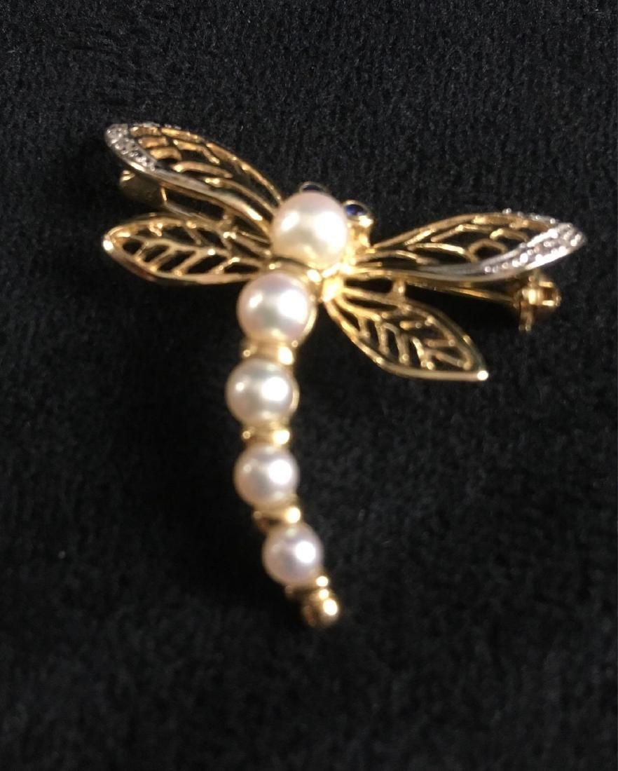 Vintage Pearl 14K Gold Dragonfly Brooch - 3