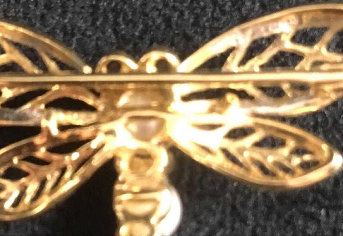 Vintage Pearl 14K Gold Dragonfly Brooch - 5