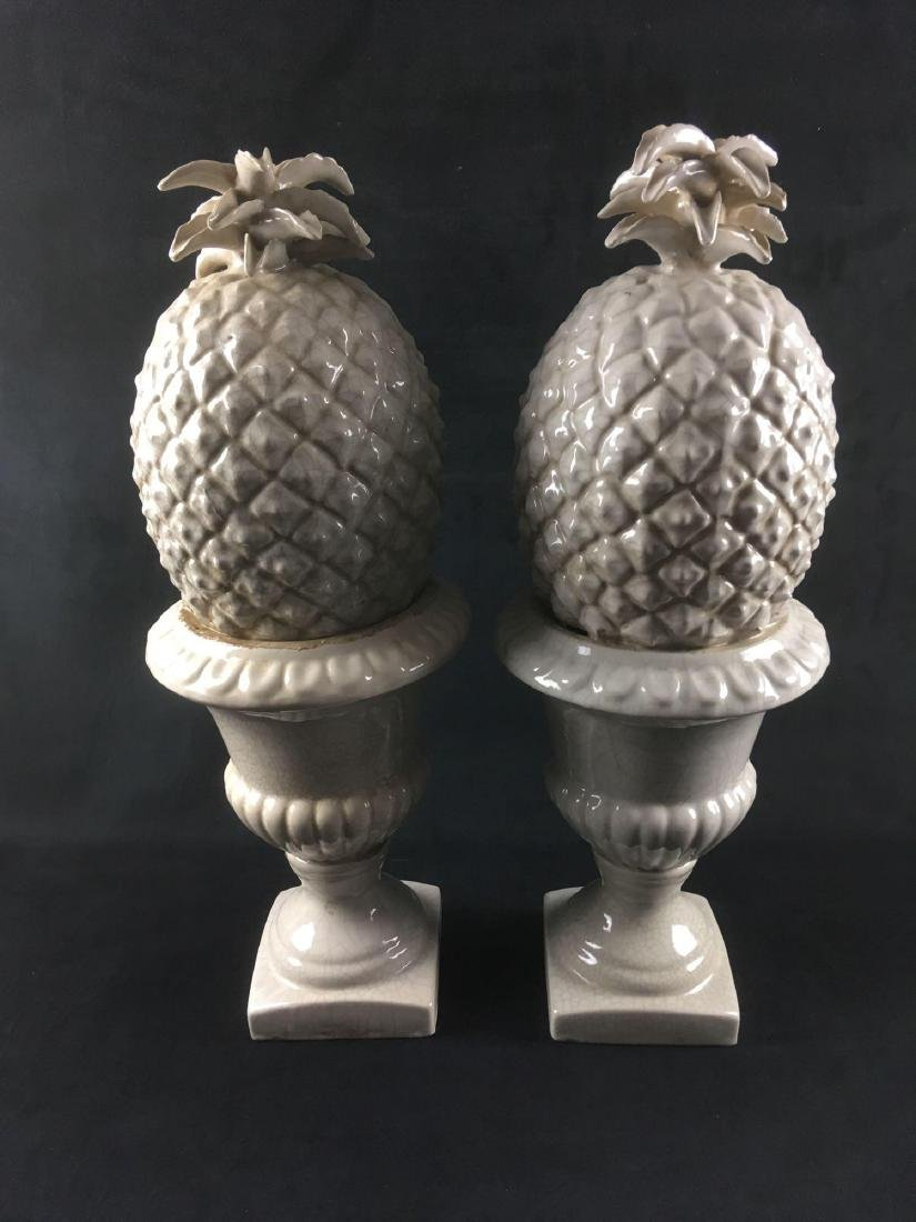 Two Square Base Glazed Ceramic Pineapple Statues