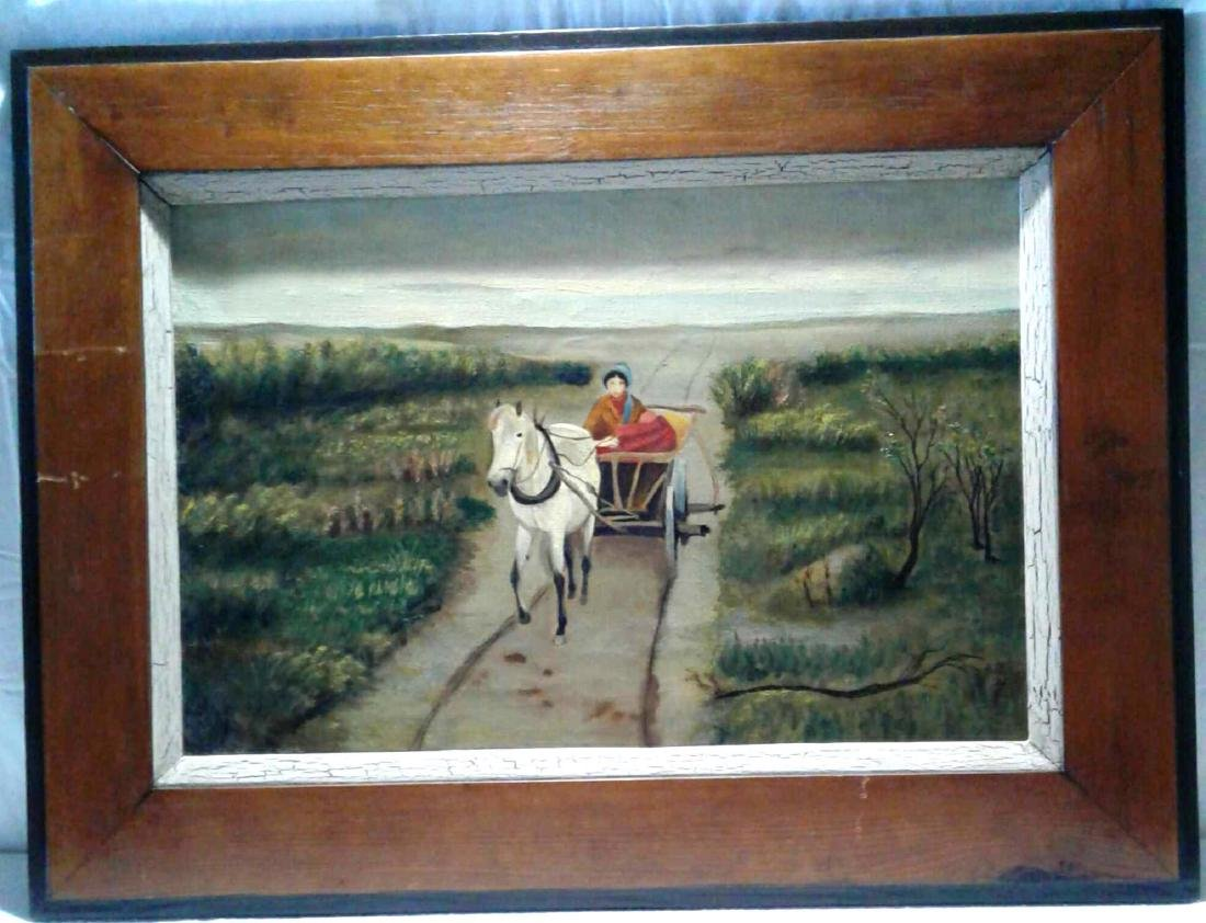 Horse Drawn Wagon with Women Painting