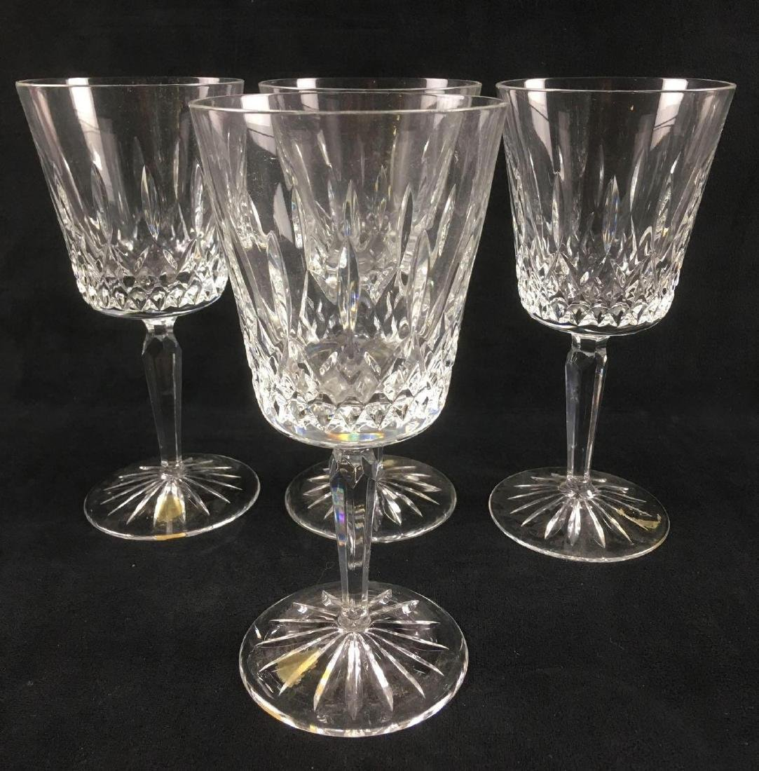 4 Clear Crystal Stemware Wine Goblets with Lismore