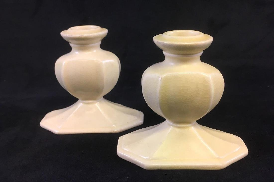 Vintage Cowan Art Pottery Pair of Candle Holders Marked