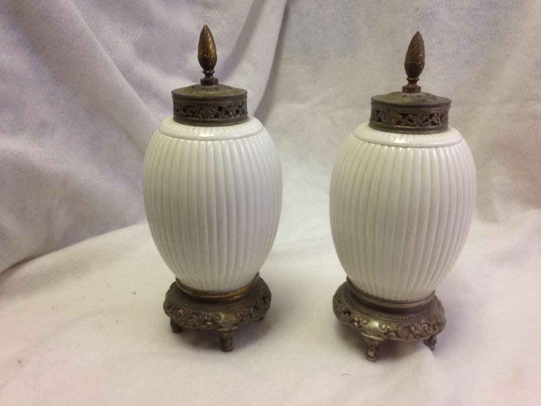 Pair of White Porcelain and Brass Urns - Antique