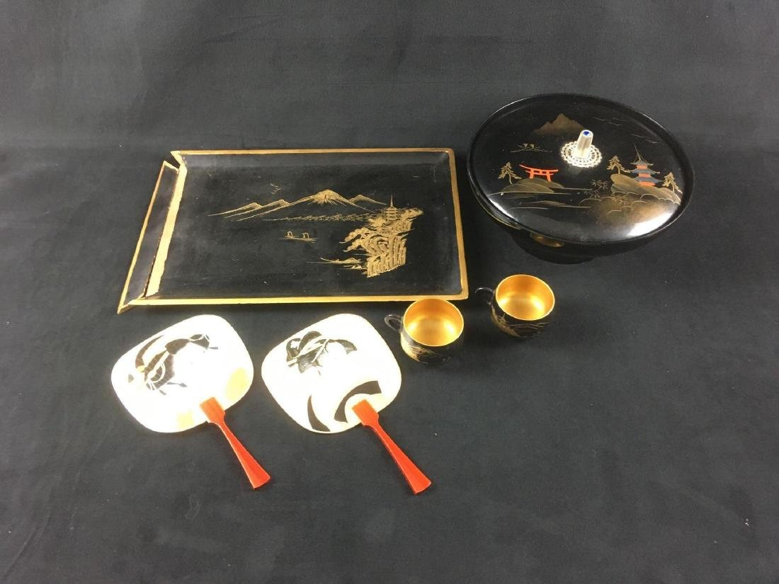 Vintage 5 Piece Lacquer ware Style Serving Set with 2