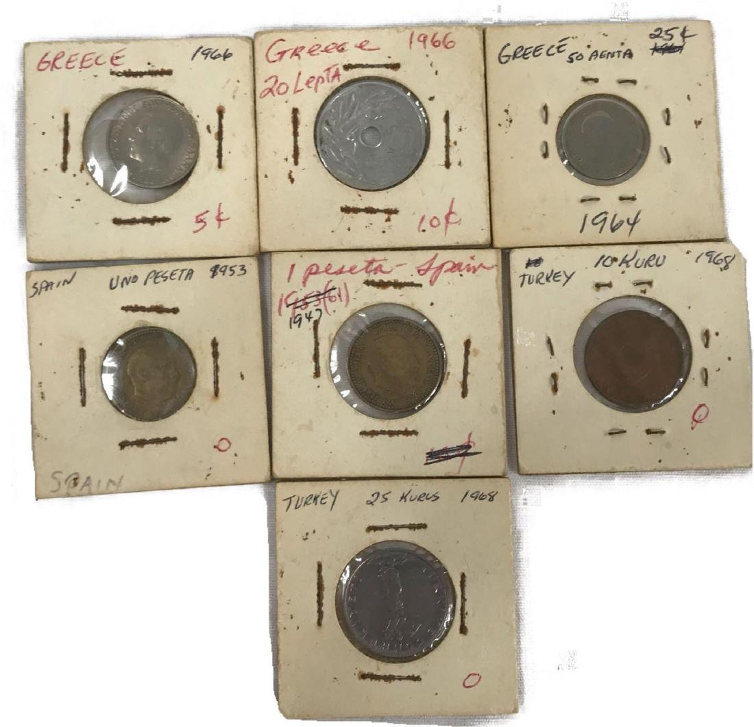 Vintage Foreign Coins From Spain Greece Turkey