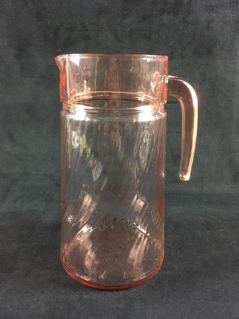 French Pink Depression Glass Mid Century Pitcher