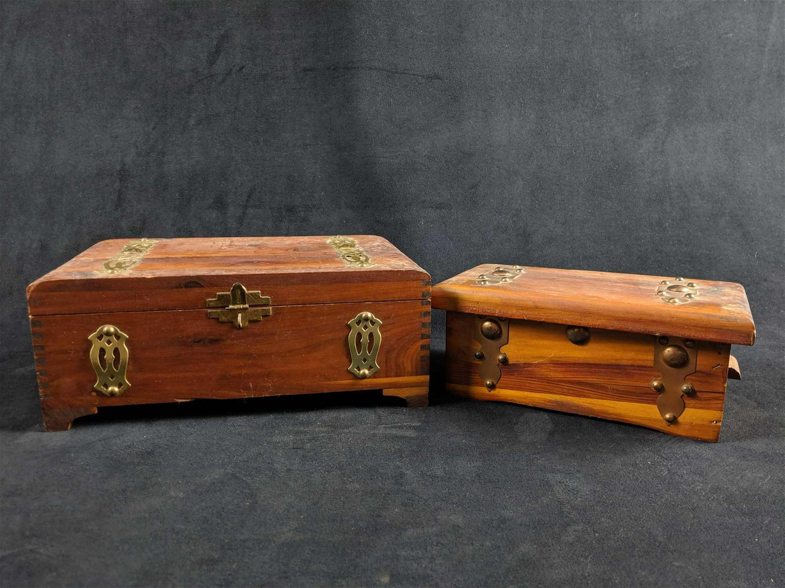 Vintage Cedar Wood Trinket Box Lot of 2