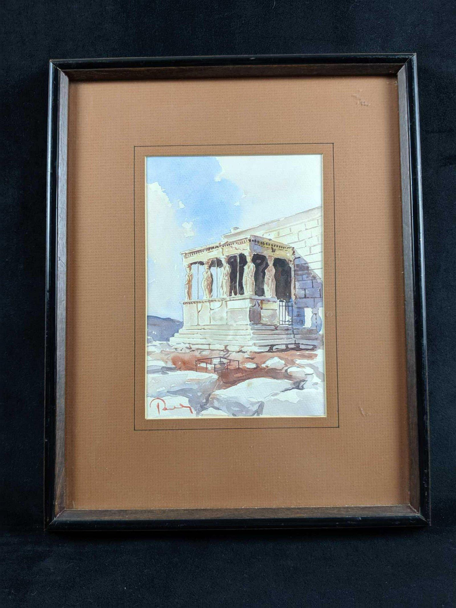 Original Water Color Of Greek Acropolis