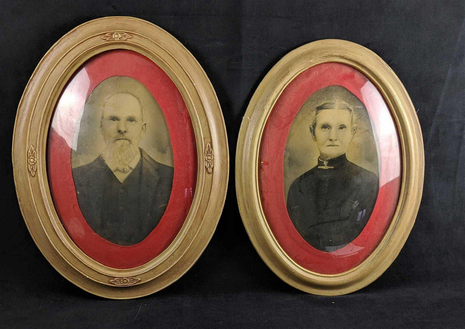 Antique SPOOKY Portrait Set Of Two