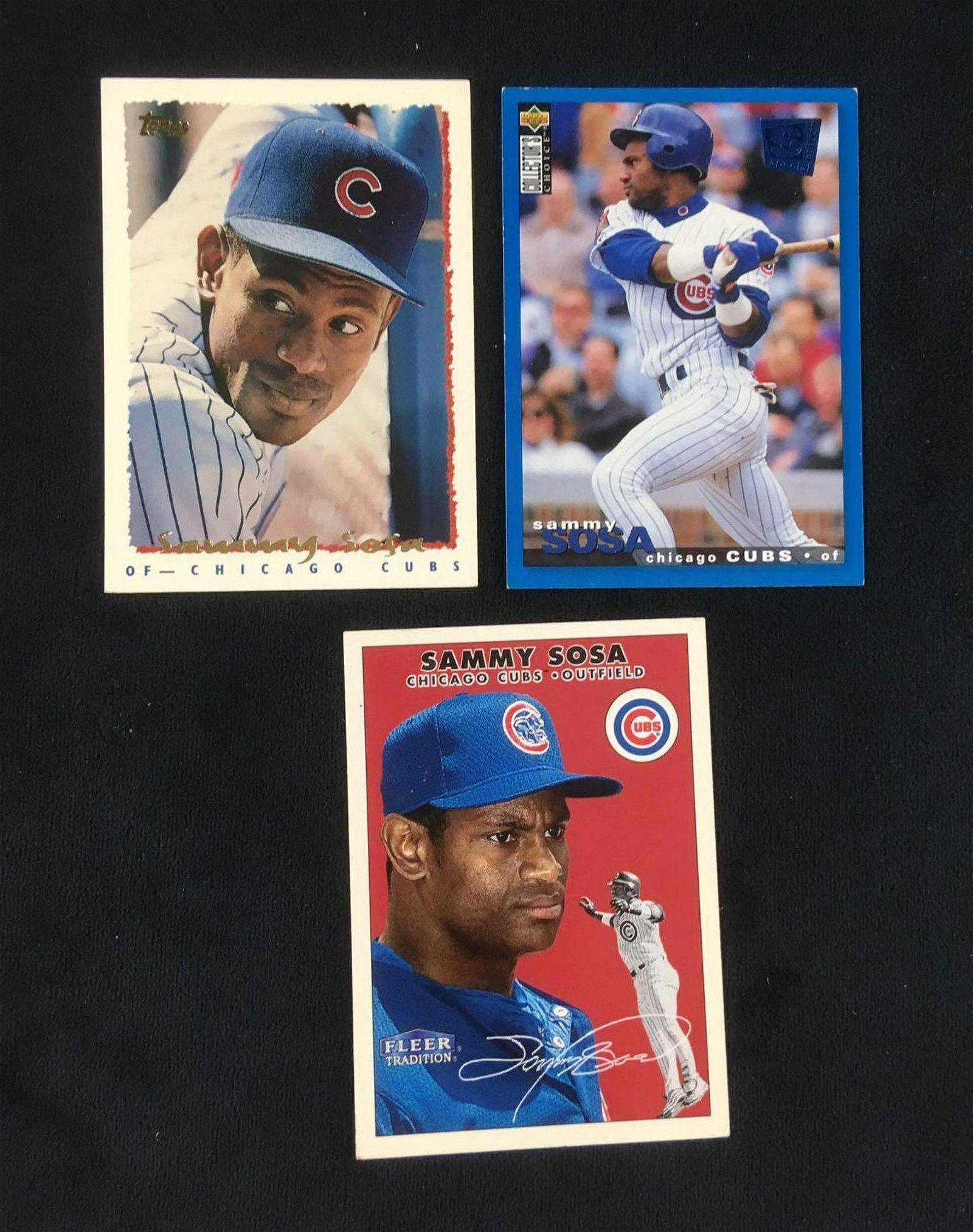 Lot of 3 Sammy Sosa Baseball Cards Circa 1990s